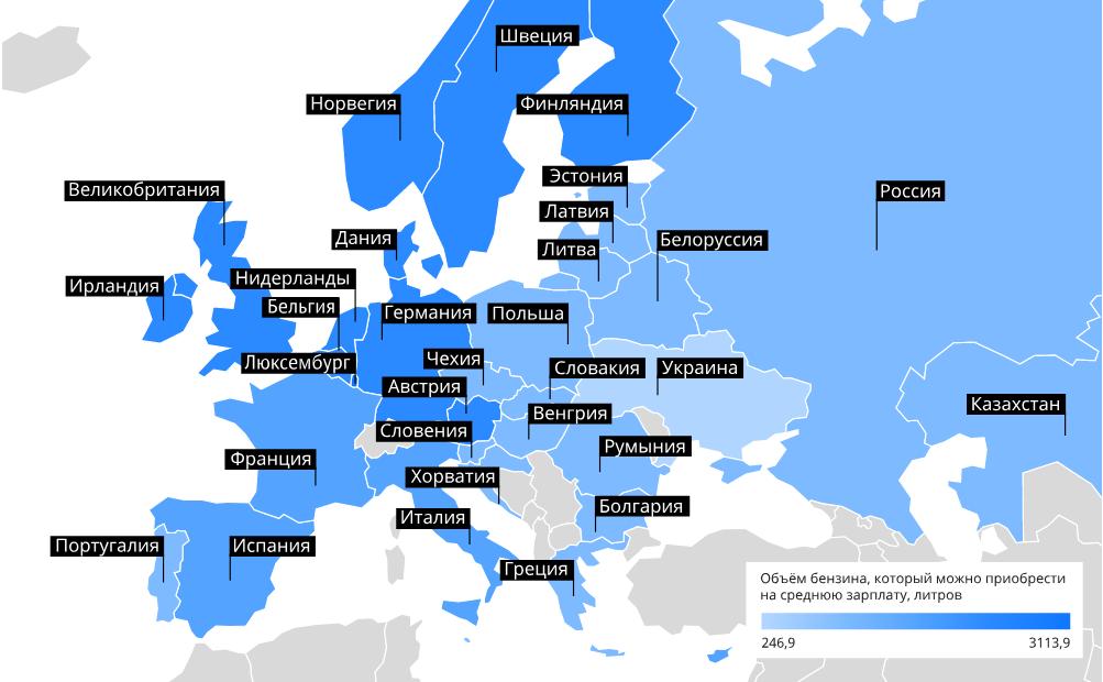 Доступность бензина в европейских странах