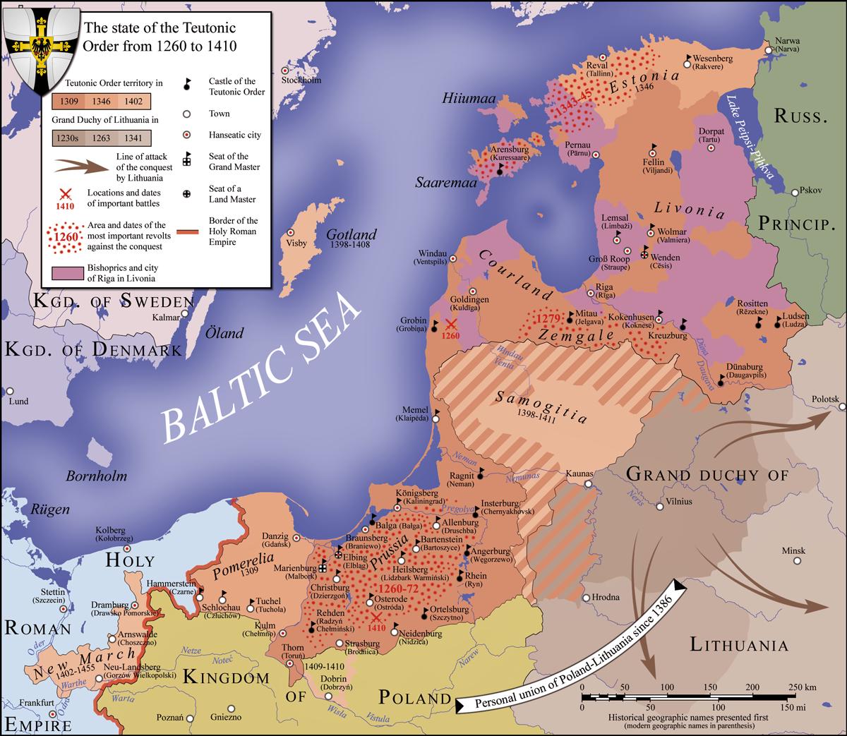 Территория государства Тевтонского ордена в период между 1260 и 1410 годами